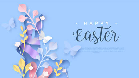 Happy easter paper cut web template or greeting card illustration of cutout rabbit shape with papercut butterfly and nature decoration. Layered 3D spring season holiday background.