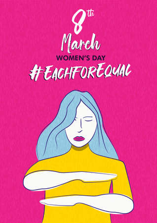 International Women's Day each for equal campaign greeting card of woman making equality arm gesture. Women rights holiday event illustration.