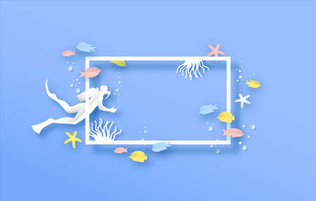 Underwater coral reef paper cut illustration with colorful tropical fish, turtle and scuba diver man. White copy space frame template, under water animals in modern 3d origami cutout style.