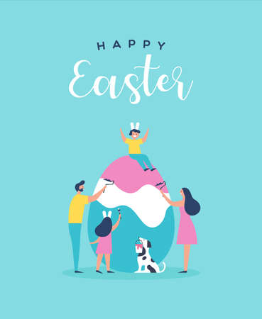 Happy Easter greeting card illustration of family people and pet dog painting egg together for special spring holiday event in flat cartoon style.