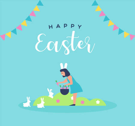 Happy Easter greeting card illustration of cute girl kid feeding carrot to rabbit for special spring holiday event in flat cartoon style.