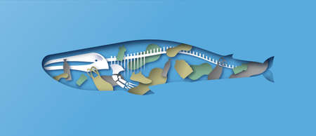 Papercut blue whale animal with cutout skeleton and toxic plastic pollution, bottles, bag inside. 3D paper cut x ray concept of dirty ocean water contamination, endangered wildlife help.