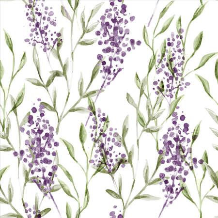Watercolor lavender flower seamless pattern in vintage hand drawn style. Elegant floral background illustration.