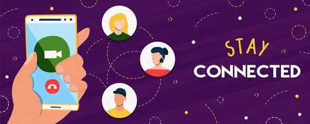 Restez connecté, bannière, illustration de la main des personnes tenant un téléphone intelligent pour la connexion aux médias sociaux ou la communication avec le réseau d'amis.