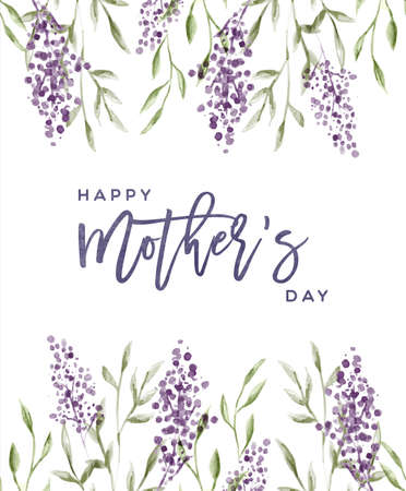 Happy Mother's Day greeting card illustration of beautiful hand drawn lavender flower nature decoration for mom family holiday.