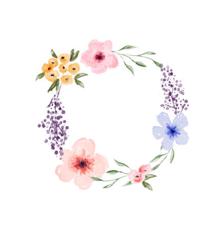 Beautiful watercolor flower wreath frame illustration on isolated background. Vintage style floral spring template for product presentation, wedding event or nature design.