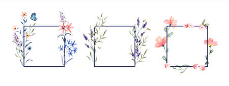 Floral watercolor frame set on isolated white background. Traditional vintage style hand drawn flowers with garden bees and butterfly for product presentation, wedding or nature design.