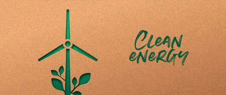 Renewable energy papercut banner with green wind mill turbine icon and plant leaf. Eco-friendly windmill electricity, 3d cutout concept in recycled paper for new clean power technology. Vettoriali