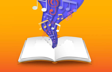 Open book of colorful music note sheet in paper cut style. Musical skill design, 3d papercut illustration for education or creative concept. Vecteurs
