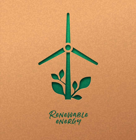 Renewable energy papercut illustration with green wind mill turbine icon and plant leaf. Eco-friendly windmill electricity, 3d cutout concept in recycled paper for new clean power technology.