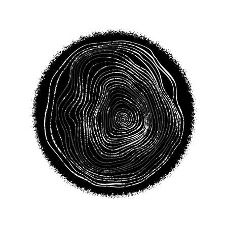 Tree ring circle in top view hand drawn style, black and white slice of wood trunk on isolated white background for plant age study.