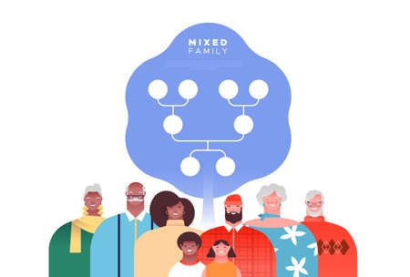 Big mixed race family people set with genealogy tree template. Families ancestry study or history education concept on isolated white background. Illustration