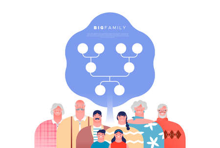 Big happy family people set with genealogy tree template. Families ancestry study or history education concept on isolated white background. 向量圖像