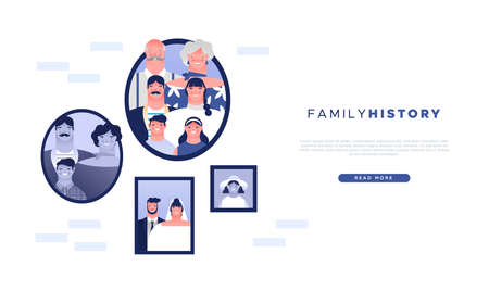 Family history web template illustration of old photo frames and families cartoon people characters. Life memories or genealogy study landing page background.