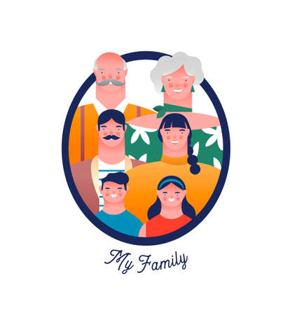 Happy family photo frame with mom, dad, grandparent and children. Families ancestry study or history education concept on isolated white background.