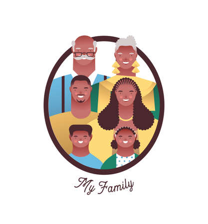 African american family photo frame with happy mom, dad, grandparent and children. Families ancestry study or history education concept on isolated white background.