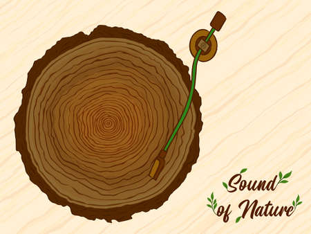 Sound of nature illustration, wood tree circle playing music as vinyl cd. Eco friendly campaign concept or green environment help design. Banque d'images - 149138169