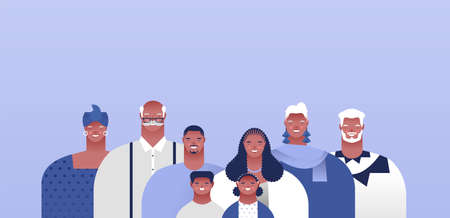 Big african american family people set with empty copy space background. Families ancestry or modern household concept. Includes mom, dad, grandparents and children.