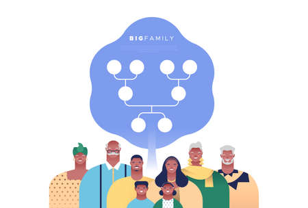 Big african american family people set with genealogy tree template. Families ancestry study or history education concept on isolated white background.