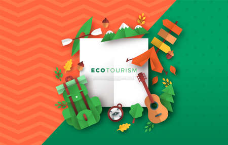 Eco tourism frame template with outdoor travel icons in 3D papercut craft style. Colorful camping adventure or summer camp vacation concept paper cut background.