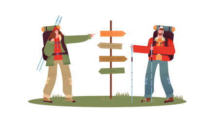 Happy couple hiking together pointing at forest guide post for directions. Outdoor travel concept of man and woman in camping site, flat cartoon characters on isolated white background.