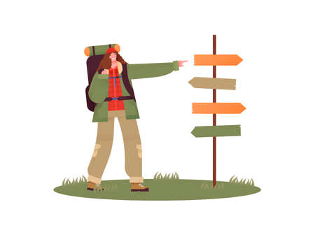 Happy woman hiking with big camping backpack pointing at empty guide post for directions. Outdoor travel concept girl in camp site, flat cartoon character on isolated white background.