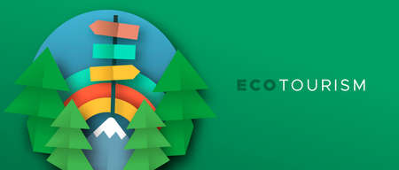 Eco tourism banner illustration in 3d paper cut craft style. Outdoor travel illustration with papercut mountain forest, trees and rainbow sky. Green nature exploration or vacation adventure concept. Ilustração