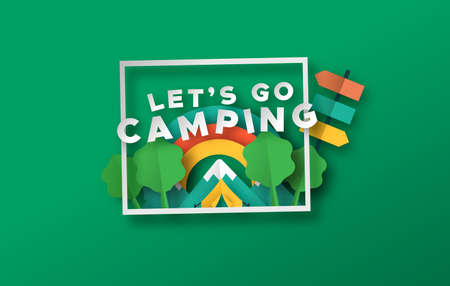 Let's go camping quote in 3d paper cut craft style. Outdoor travel illustration with papercut tent, mountain and nature landscape. Colorful children summer camp or vacation adventure concept.