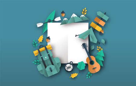 Eco tourism background template with outdoor travel icons in 3D papercut craft style. Camping adventure or summer camp vacation concept. Empty copy space white frame. Ilustração