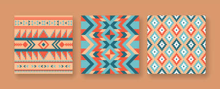 Abstract native american seamless pattern set with geometric art, colorful ethnic background collection of tribal or indigenous texture design.