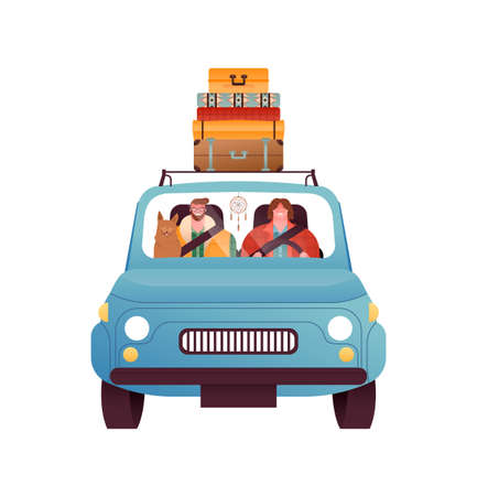 Happy man and woman driving vintage car with vacation suitcase, pet dog on isolated white background. Road trip travel concept.