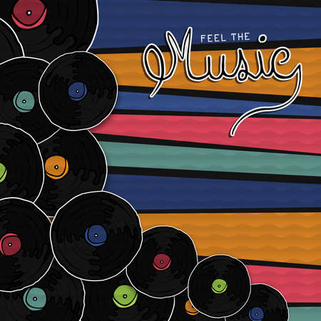 Feel the music retro vinyl cd illustration in hand drawn style. Vintage musical album or turntable player on colorful background.