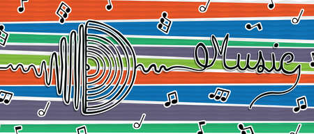 Music concept banner illustration of vinyl sound wave in hand drawn style. Vintage cd player symbol on colorful background. Ilustrace