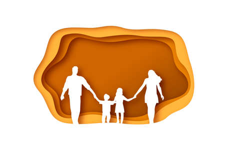 Traditional nuclear family of mom, dad and children walking holding hands together in modern paper cut craft style with empty copy space background.