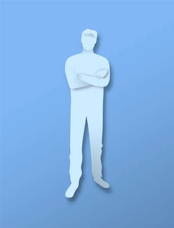 Young man with arms crossed in 3d papercut craft style. Business leadership or confident male concept, full body character on isolated background. Illustration