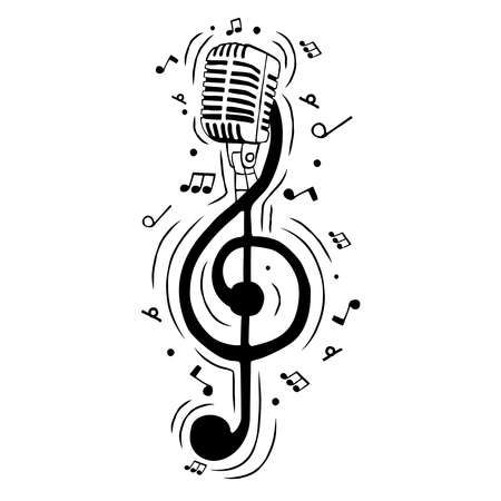 Music treble clef note as microphone illustration for musical event or singing concept. Hand drawn cartoon on isolated background. Vettoriali