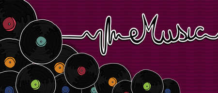 Music concept retro vinyl illustration in hand drawn style. Vintage musical album or turntable player on colorful background.