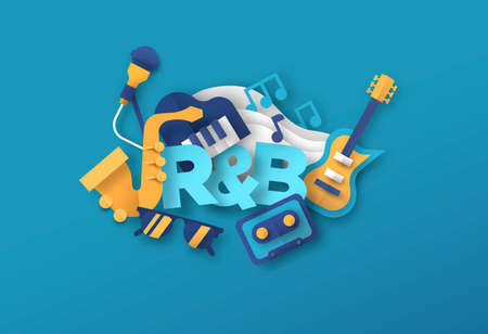 R&B music style illustration with 3d paper cut instrument equipment icons. Rhythm and Blues band concert, live musical, urban event concept. Includes microphone, electric guitar, mixtape cassette. Ilustração