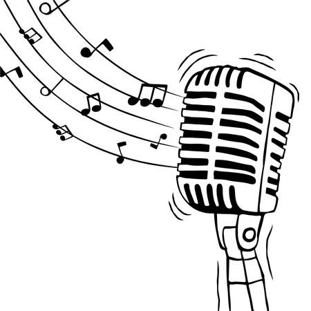 Music microphone with musical notes illustration for singing event or voice sound concept. Hand drawn cartoon on isolated background.