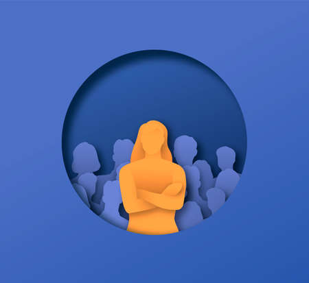 Woman with arms crossed in front of people crowd, 3D papercut illustration of business leadership concept. Male team leader standing confident. Ilustrace