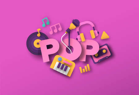 Pop music style illustration with 3d paper cut musical instrument equipment icons. Creative festival, concert event concept. Includes singer microphone, piano, headphones.