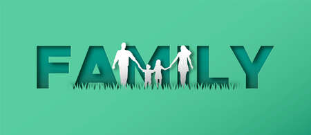 Family of mom, dad and children walking holding hands together in modern paper cut craft style with text quote sign background. 写真素材 - 151099173