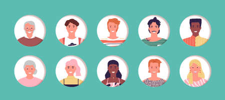 Diverse people avatar collection, happy multi age men and women group portrait set. Cartoon character buttons on isolated background. Ilustrace