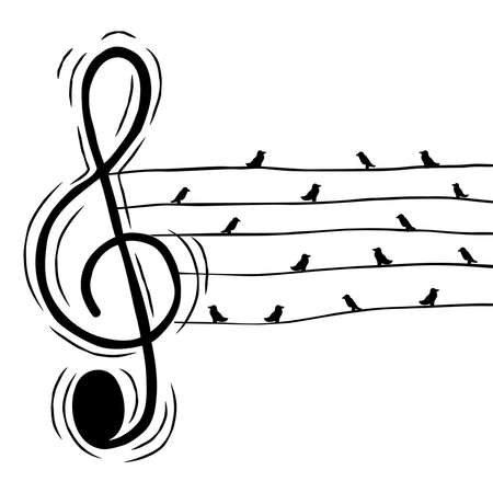 Music treble clef note with birds in wire illustration for musical event or nature sound concept. Hand drawn cartoon on isolated background. Vetores