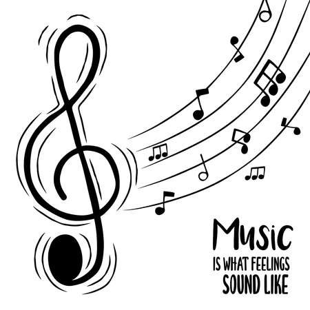 Music is what feelings sound like text quote illustration for musical love concept. Treble clef cartoon with audio note background. Ilustrace