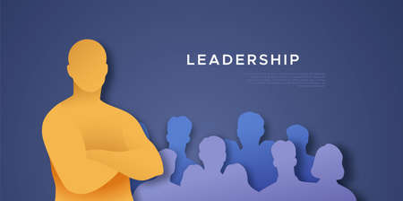 Man with arms crossed in front of people crowd. 3D papercut business  illustration, leadership template. Male team leader standing confident at office work space.