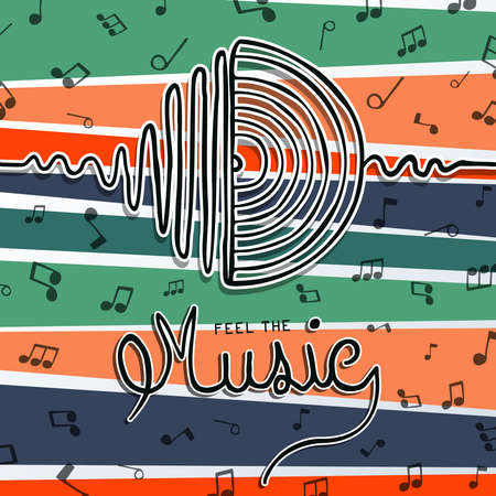 Music concept illustration of vinyl sound wave in hand drawn style. Vintage cd player symbol on colorful background.