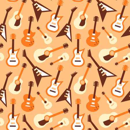 Guitar music instrument seamless pattern, cartoon icon background of different style instruments. Retro electric guitars for band event, concert concept.