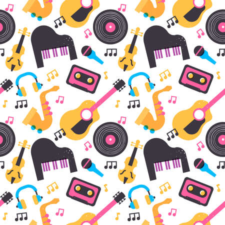 Colorful music instrument seamless pattern with cartoon piano, guitar, vinyl and more musical equipment icons. Retro style audio background design.