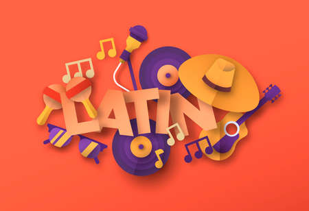 Latin music style illustration with 3d paper cut musical instrument icons. Traditional spanish culture band concert or live event concept. Includes maracas, mariachi hat, summer glasses.
